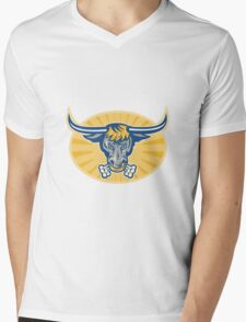 Angry Texas Longhorn Bull Head Front Mens V-Neck T-Shirt