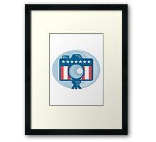 American DSLR Camera Stars and Stripes Flag Framed Print