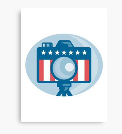 American DSLR Camera Stars and Stripes Flag Canvas Print