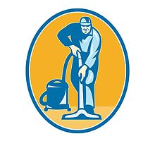 Cleaner Janitor Worker Vacuum Cleaning by patrimonio
