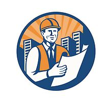 Construction Engineer Architect Foreman Retro by patrimonio