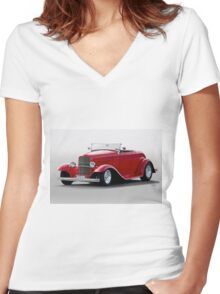 1932 Ford 'Love Child' Roadster Women's Fitted V-Neck T-Shirt
