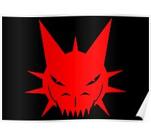Red Dragon's Head Design On Black Background Poster
