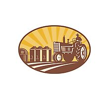 Farmer Driving Vintage Tractor Retro Woodcut Photographic Print