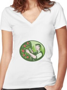 Horticulturist Farmer Pruning Fruit Women's Fitted V-Neck T-Shirt