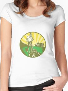 Gardener Mowing Lawn Mower Retro Women's Fitted Scoop T-Shirt