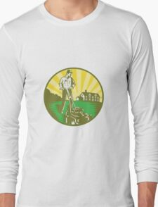 Gardener Mowing Lawn Mower Retro Long Sleeve T-Shirt