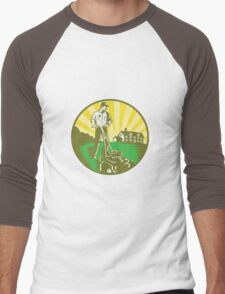 Gardener Mowing Lawn Mower Retro Men's Baseball ¾ T-Shirt