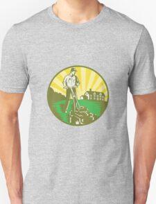 Gardener Mowing Lawn Mower Retro T-Shirt