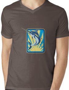 Blue Marlin Fish Jumping Retro Rectangle Mens V-Neck T-Shirt