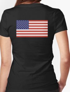 American Flag, Stars & Stripes, Pure & Simple, America, USA, on BLACK Womens Fitted T-Shirt