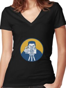 Photographer With Camera Retro Women's Fitted V-Neck T-Shirt