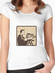 Photographer Shooting Vintage Camera Retro Women's Fitted Scoop T-Shirt