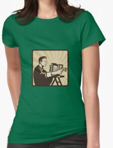 Photographer Shooting Vintage Camera Retro Womens Fitted T-Shirt