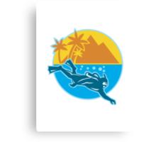 Scuba Diver Diving Island Retro Canvas Print