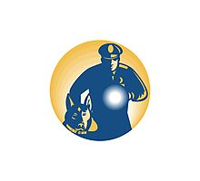 Security Guard Policeman Police Dog Photographic Print