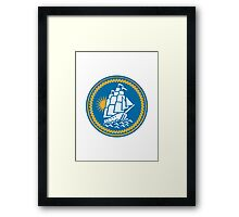 Sailing Tall Ship Galleon Retro Framed Print