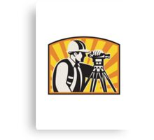 Surveyor Engineer Theodolite Total Station Retro Canvas Print