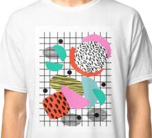 Posse - 1980's style throwback retro neon grid pattern shapes 80's memphis design neon pop art Classic T-Shirt