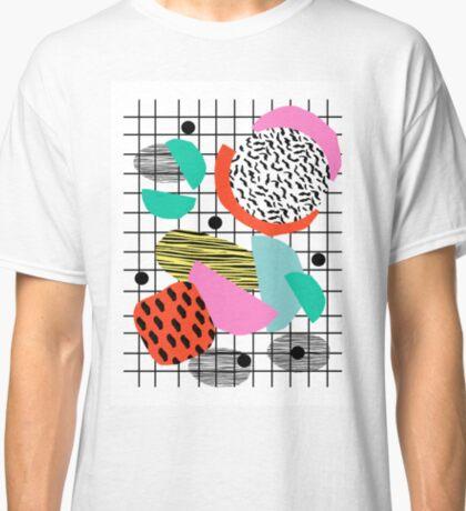 Posse - 1980's style throwback retro neon grid pattern shapes 80's memphis design neon pop art Classic T-Shirt