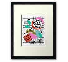 Posse - 1980's style throwback retro neon grid pattern shapes 80's memphis design neon pop art Framed Print