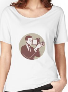 Photographer Shooting Video Camera Retro Women's Relaxed Fit T-Shirt
