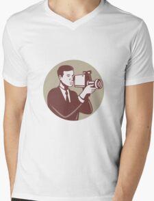 Photographer Shooting Video Camera Retro Mens V-Neck T-Shirt