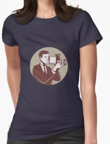 Photographer Shooting Video Camera Retro Womens Fitted T-Shirt