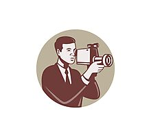 Photographer Shooting Video Camera Retro Photographic Print