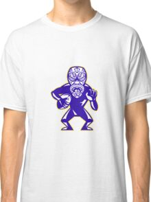Maori Mask Rugby Player Running With Ball Fending Classic T-Shirt
