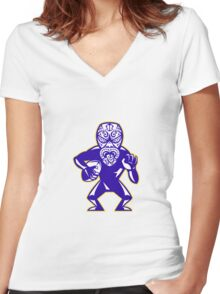 Maori Mask Rugby Player Running With Ball Fending Women's Fitted V-Neck T-Shirt