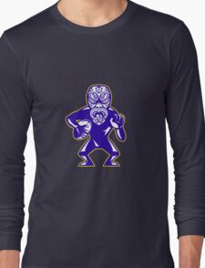 Maori Mask Rugby Player Running With Ball Fending Long Sleeve T-Shirt