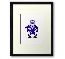 Maori Mask Rugby Player Running With Ball Fending Framed Print