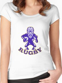 Maori Mask Rugby Player Running With Ball Fending Text Women's Fitted Scoop T-Shirt