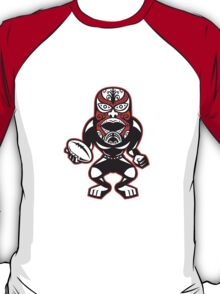 Maori Mask Rugby Player standing With Ball T-Shirt