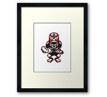 Maori Mask Rugby Player standing With Ball Framed Print