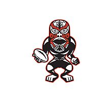 Maori Mask Rugby Player standing With Ball Photographic Print