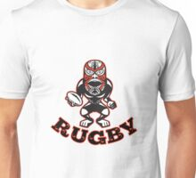 Maori Mask Rugby Player standing With Ball Text Unisex T-Shirt