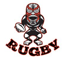 Maori Mask Rugby Player standing With Ball Text by patrimonio