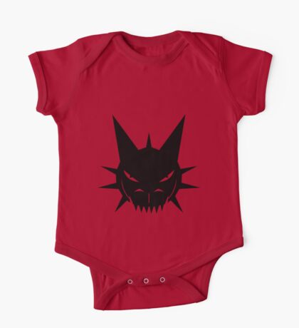 Black Dragon's Head Design On Red Background One Piece - Short Sleeve