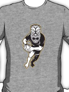 Maori Mask Rugby Player Running With Ball T-Shirt