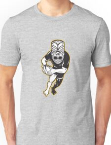 Maori Mask Rugby Player Running With Ball Unisex T-Shirt