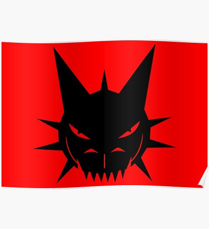 Black Dragon's Head Design On Red Background Poster