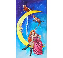 Saloon Girl On The Moon With Moon Cows! Photographic Print