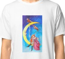 Saloon Girl On The Moon With Moon Cows! Classic T-Shirt