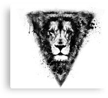 Cool Lion Head Design in Black Ink Canvas Print