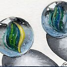 ACEO-Yellow and Green Marbles by dvampyrelestat