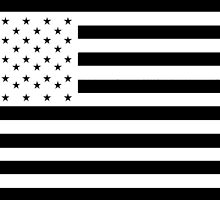 American Flag, STARS & STRIPES, USA, America, White on Black by TOM HILL - Designer