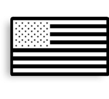 American Flag, STARS & STRIPES, USA, America, White on Black Canvas Print