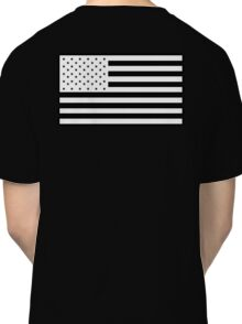 American Flag, STARS & STRIPES, USA, America, White on Black Classic T-Shirt